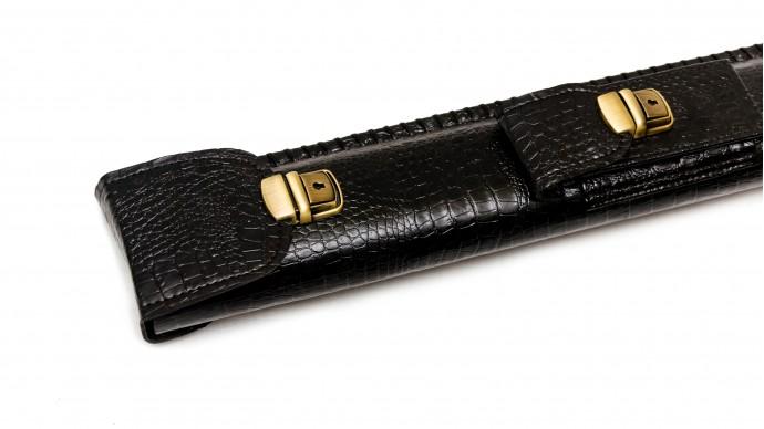 Колчан для кия с карманом черный крокодил
