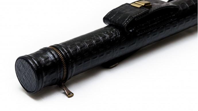 Тубус для кия с карманом на замке черный крокодил