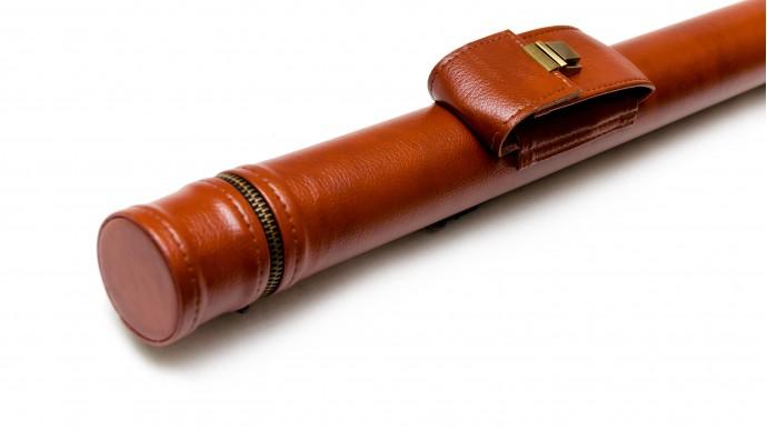 Тубус для кия с карманом на замке коричневый гладкий