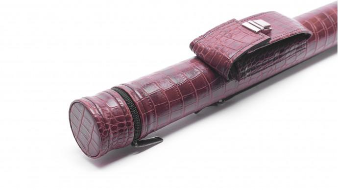 Тубус для кия с карманом на замке коричневый крокодил